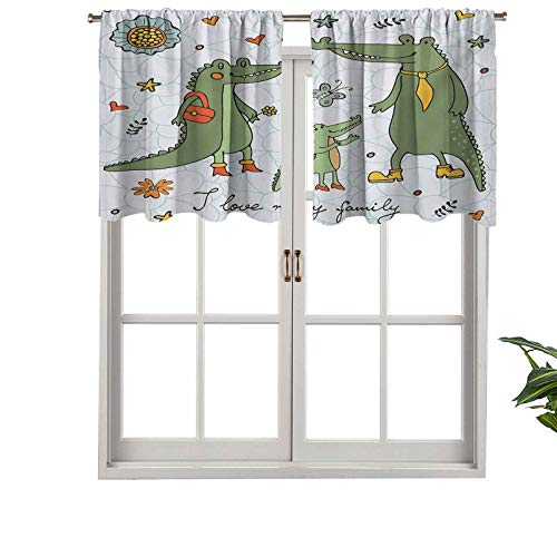 "Hiiiman Cenefa extra corta con aislamiento térmico para ventana, diseño con texto en inglés ""I Love My Family"", juego de 2, paneles decorativos para el hogar de baño de 137 x 61 cm"