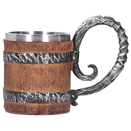 Taza para beber, taza de barril de roble, resina ecológica hecha a mano vintage para leche de cerveza