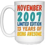 N\A Divertido Nacido en noviembre 13 años cumpleaños Taza de café con Leche