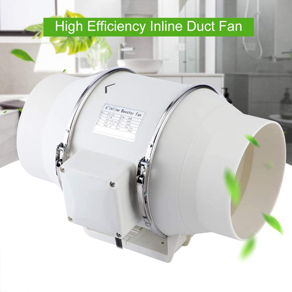 Bathroom Kitchen Inline Duct Ventilation Extractor Fan 6 Inch 80W Ventilation System Turbo Fan Ceiling Wall Mounted High Efficiency Air Extractor Inline Duct Fan for Bathroom Kitchen Ventilation