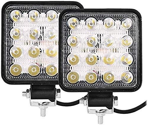 BAYNOS® 2 Pezzi Faretto Faro LED Quadrato da Lavoro per Auto Barca Fuoristrada SUV Trattore Camion Veicoli Industriali 16 LED 48W 6000k