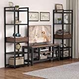 5-Tier Industrial Storage Shelf Organizer Set of 2, Tribesigns Tall Display Shelf Living Room Storage Tower Metal, Free-Standing Bookshelf Narrow Shelves Bookcase for Home