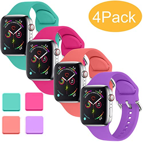 Misker Sport Band Compatible with for Apple Watch Band 38mm 40mm 42mm 44mm, Soft Silicone Sport Strap Compatible with iWatch Series 5 4 3 2 1 (Teal/Purple/Barbie pink/Coral, 38mm/40mm S/M)