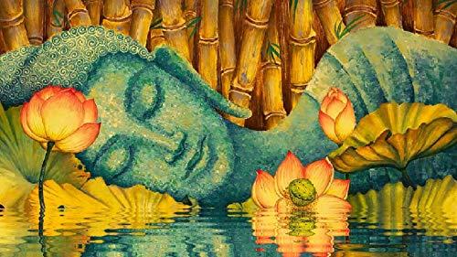 Rompecabezas Juego De 1000 Piezas En 3D para Bricolaje Juegos para Adultos De Lotus Estatua De Buda De Ojos Cerrados De Lotus Colección De Frutas Animales Niños Regalos Juego De Rompecabezas