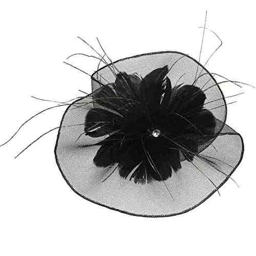 FHKGCD Sombreros De Novia para Boda Tocados para Mujer Fiesta De Encaje Patchwork Flor Cristal Pluma con Velo Tocado, Negro,