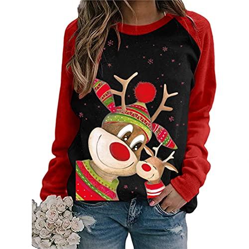 Sudadera Sin Capucha Navidad para mujer Camiseta de Manga Larga estampado Blusa tops OtoñO Primavera Talla Grande Cuello Redondo Jersey 2021 Holgados Causal hoodie Pullover básico original suéter