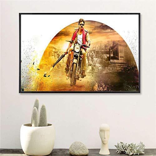 Yiwuyishi Pawan Kalyan India Póster de Estrella de Cine e impresión en Lienzo Pintura artística Cuadros de Pared para la decoración de la Sala de Estar Hogar 50x70cm P-824