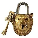 Brass Padlock - Lock with Keys - Working Functional - Brass Made - Type : (Lion - Brass Finish)