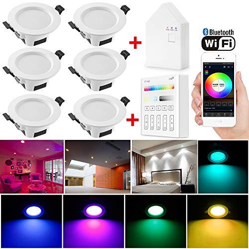 6er set Wlan Bluetooth 5W LED Einbaustrahler RGBW+CCT 5 in 1 Einbauleuchte Spot Dimmbar 230 Volt Einbauleuchten mit Touchscreen Smart Schalter Panel,BT Mesh Smart Bridge