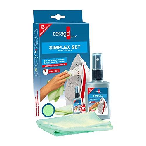 ceragol ultra Simplex Set - Reinigungs-Spray für alle Bügeleisen-Sohlen, Flüssig-Reiniger entfernt Schmutz & Kalk, 50ml Sprühflasche + Microfasertuch