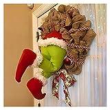 Adornos Navidad ladrón arpillera raster diseño casero puerta de la puerta de la puerta de la puerta de la corona de la decoración de Navidad de Santa Claus de Santa Claus Adornos de Navidad 2021 Regal