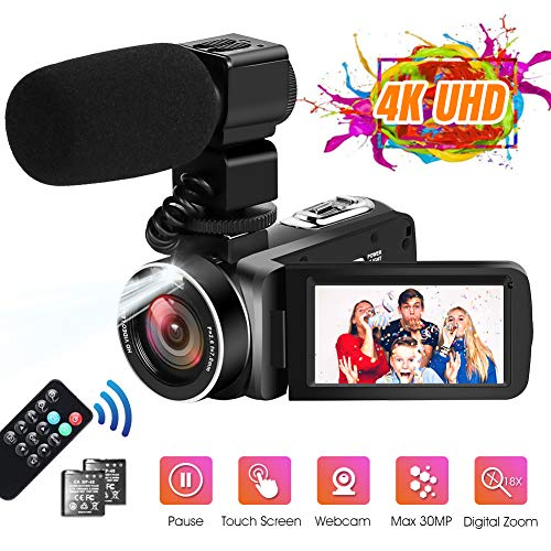 Videocamara 4K Videocámara Ultra HD 30MP 18X Zoom Digital Videocámara...