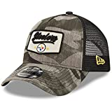 New Era Men's Camo/Black Pittsburgh Steelers A-Frame Patch 9FORTY Trucker Snapback Hat
