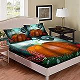 Juego de sábanas de calabaza, diseño de árboles de setas y arañas, juego de cama con temática de Halloween, juego de cama de poliéster suave (1 sábana bajera + 2 fundas de almohada), tamaño doble