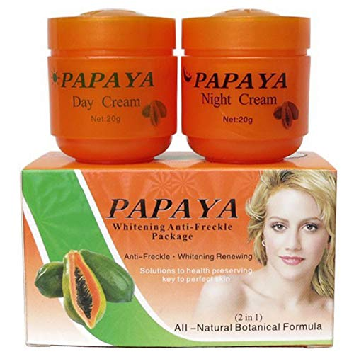 Allouli Papaya Whitening Creams Set Freckle Removal Cream Day Night Pearl Moisturizer Anti Aging