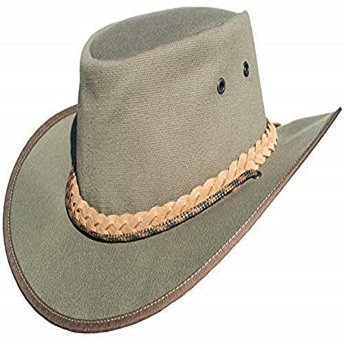 Leather Hats Sombrero de vaquero de lona para pesca, safari, estilo australiano, color gris