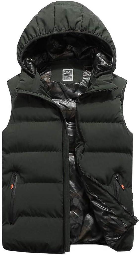 MODOQO Men's Winter Padded Lightweight Vest Outerwear Removable Hooded Jacket