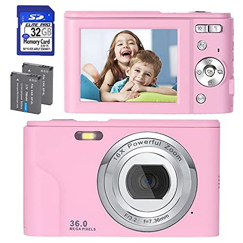 Digitalkamera, FHD 1080P 36.0 MP Mini Videokamera Wiederaufladbare Fotokamera Digitalkamera mit 32GB SD-Karte 16X Digitalzoom, Kompaktkamera für Kinder Studenten Teenager Erwachsene -Rosa