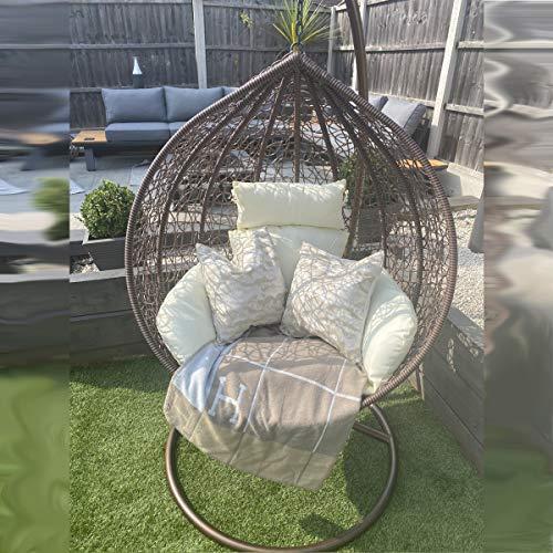 CGC - Columpio de mimbre tejido a mano con cojín grande de lujo en color crema para exteriores, jardín, patio, interior