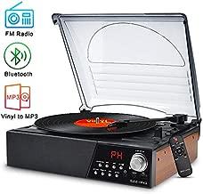 Record Player Turntable,Vinyl Bluetooth Radio LP Player with Speaker USB Vinyl to MP3 Encoding,Vintage 3 Speed Phonograph