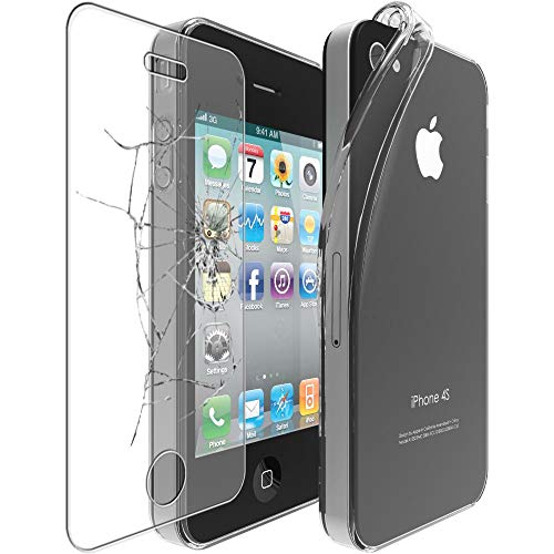 ebestStar - Coque Compatible avec iPhone 4, 4S Apple Etui Housse Silicone Gel Anti-Choc Ultra Fine Invisible, Transparent + Film Verre Trempé [Appareil: 115.2 x 58.6 x 9.3mm, 3.5'']