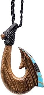 Hawaiian Fish Hook Necklace Hand Carved Genuine Koa with Inlay Collection