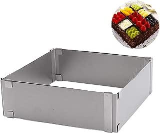 Kastma Rectangular Frame Rectangular Baking Frame Rectangular-Shaped Wedding Cake Ring, Mother's Day, Adjustable in Stainless Steel