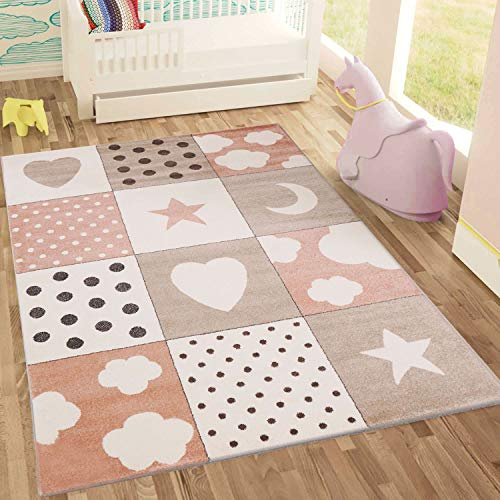 Fashion4Home Kindertapijt, patchwork, hart, sterren, wolk, kindertapijt voor meisjes en jongens, tapijt voor de kinderkamer, kleur: blauw, grijs en roze, vrij van schadelijke stoffen 160x230 cm roze