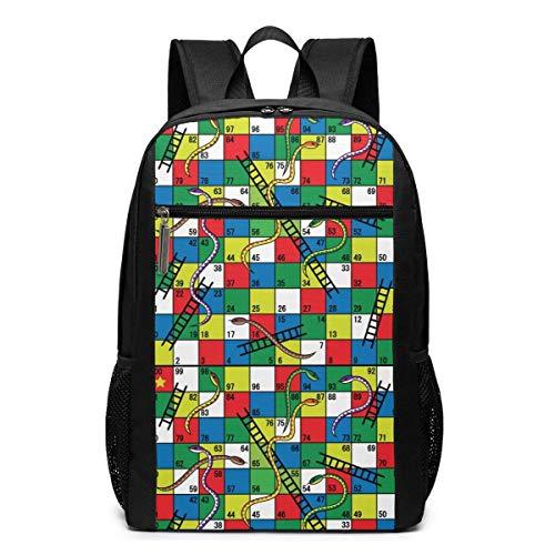AOOEDM Schlangen und Leitern Brettspiel Rucksack Großer Laptop Reise Business Rucksack Casual School Computer Bookbag 17 Zoll