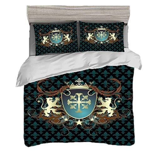 Funda nórdica Tamaño doble (150 x 200 cm) con 2 fundas de almohada Medieval Juegos de cama de microfibra Diseño heráldico de la Edad Media Escudo de armas Corona Leones y remolinos,verde azulado canel