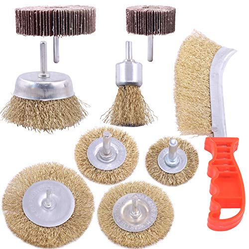 Rustark 9 Pcs Brass Coated Wire Brush Wheel & Cup Brush Set with Abrasive Flap Sanding Wheel,Universal fit Wire Drill Brush Set for Power Rotary Tool Drill Rust Corrosion Paint Removal