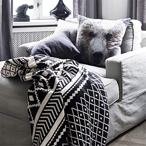 Negro blanco diamante celosía tejido algodón lanzar manta ligero suave acogedor cálido borlas sofá cama acolchado decoración del hogar