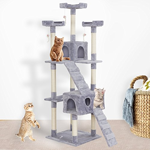 SUNCOO 5 Level Cat Activity Tree and Towers Condo Furniture Scratching Kitty Pet Play House with Stairs and Hanging Toys Gray 66 inch High