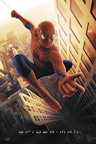 POSTER STOP ONLINE Spider-Man - Movie Poster (Spiderman Swinging in New York City) (Size 27 x 40')