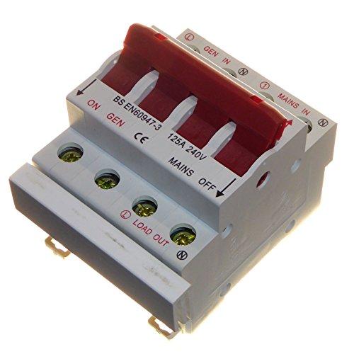Umschalter mit Sammelschiene, Generator-/Stromnetzübergabe, Einzelphase, DIN-Schienen, 125Amp
