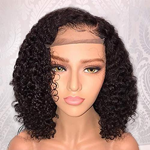 Jessica Hair 13x6 Lace Front Wigs Human Hair Short Bob Wigs Pre Plucked With Baby Hair Curly Brazilian Remy Hair Wigs For Black Women (8 Inch with 150% density)