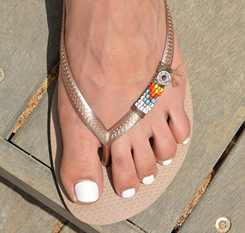 Women's Flip Flops, Hippie Boho Colorful Beaded Sandals, Sizes 7-8 US, Vegan Handmade Shoes