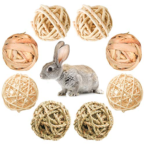8 Pcs Small Animals Play Balls Rolling Activity Chew Toys Gnawing Treats for Rabbits Guinea Pigs Chinchilla Bunny Natural Balls, Pet Cage Entertainment Accessories (8Pcs)