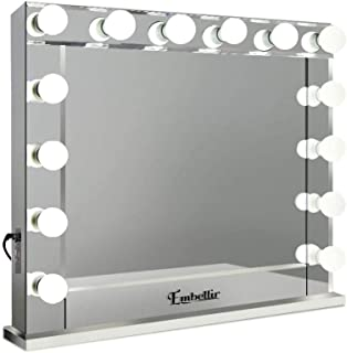 Embellir Hollywood Style Mirror Stand Up Vanity Makeup Mirror with 14 Lighted Bulbs and USB Charging for Living Room Dress...