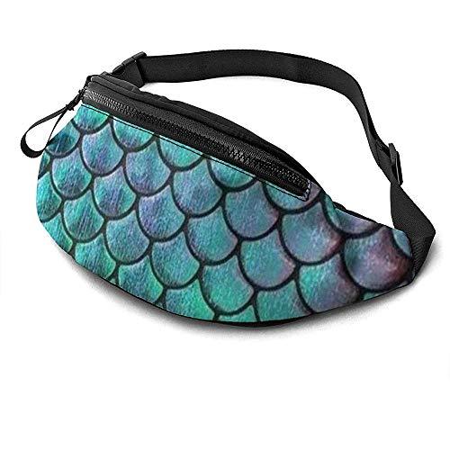 Jrey.T Teal Gold Mermaid Damask Pattern Runner's Fanny Bag Waist Pack Réglable Sangles Poche avec Prise Casque pour Unisexe