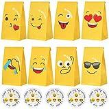 Liuer 48PCS Emoji Bolsas Regalo Cumpleaños,Bolsas de Dulces de Cumpleaños,Party Cajas de Regalo,Cajas de Dulces para niños y Adultos Fiestas de Cumpleaños Navidad(8 Patrones)