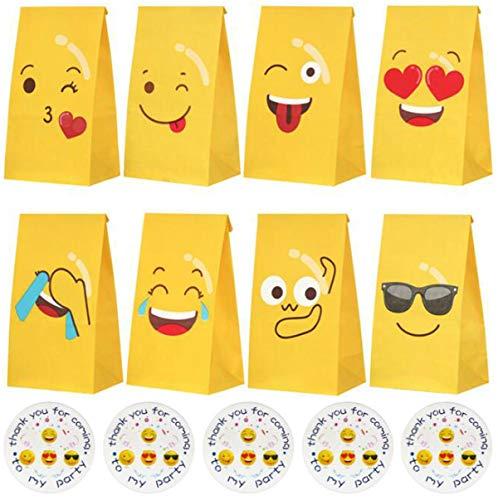 liuer 48PCS Emoji-Expression Sacchetto Regalo,Sacchetti Regalo di Carta Emojis Caramella Sacchetto per Bambini,Sacchetti di Carta per Natale,Caramelle Compleanno,Bambini Festa Compleanno