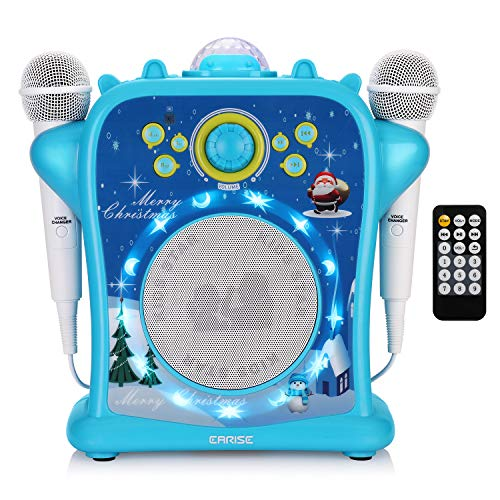 EARISE T29 Karaoke Machine for Kids Boys with Voice Changer, Portable PA Bluetooth Speaker Singing Machine with 2 Wired Microphones, LED Disco Lights, Recording, Supports USB/AUX