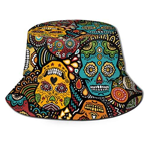 136 Happy Easter Mexicano Sugar Skull Bucket Hats Unisex Bucket Hat Sombrero Verano Fisherman's Hat