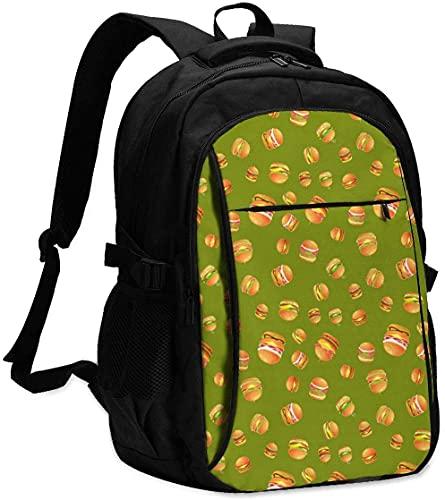 Bolsa de computadora de negocios divertido delicioso hamburguesa comida verde patrón colegio escuela secundaria Bookbags con puerto de carga USB gran regalo Chioce