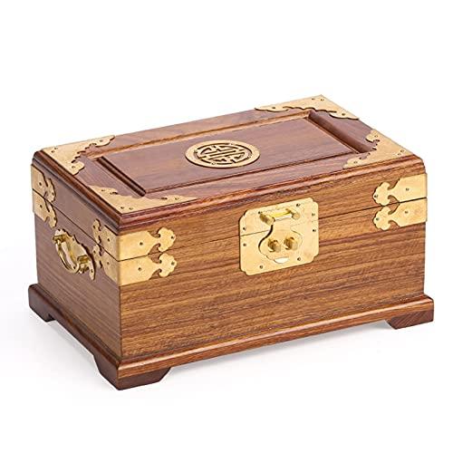 Scatola di Gioielli Cassa del tesoro di legno dell'annata con lo specchio Retro Box di gioielli scatola del tesoro dei monili del gestore del petto Organizer di gioielli antico Portagioie da Viaggio