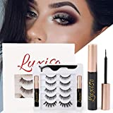Luxisobeau Magnetic Eyelashes With Eyeliner, Light-Weight and Reusable&Non-Irritating False Magnetic Eyelashes with Natural Look in 5 Pairs-No Glue Needed