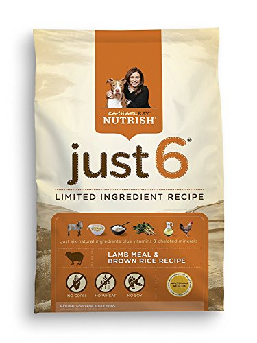 Price comparison product image Rachael Ray Nutrish Just 6 Natural Dry Dog Food,  Lamb Meal & Brown Rice Recipe 14 lbs. 2-Pack
