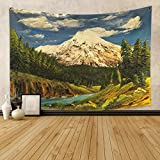 Qinunipoto Japanese Mountain Tapestry Oil...