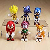 LINJIA Figura sónica 6pcs/set Sonic The Echidna Brinquedos Track Shipment